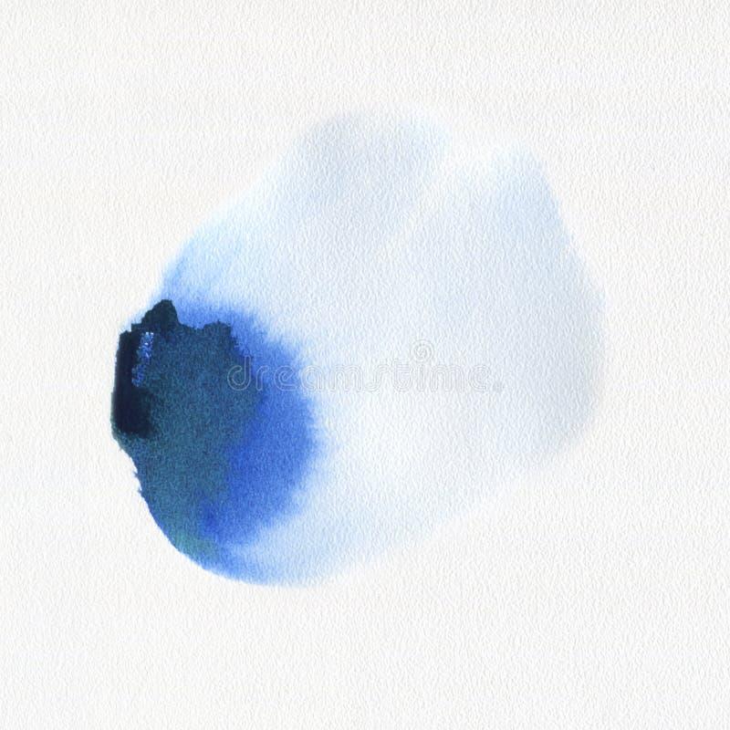 Tache bleue tirée par la main de peinture d'art d'aquarelle abstraite d'aquarelle sur le fond blanc photo stock