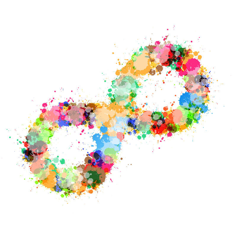 Tache colorée de vecteur abstrait, symbole d'infini d'éclaboussure illustration stock