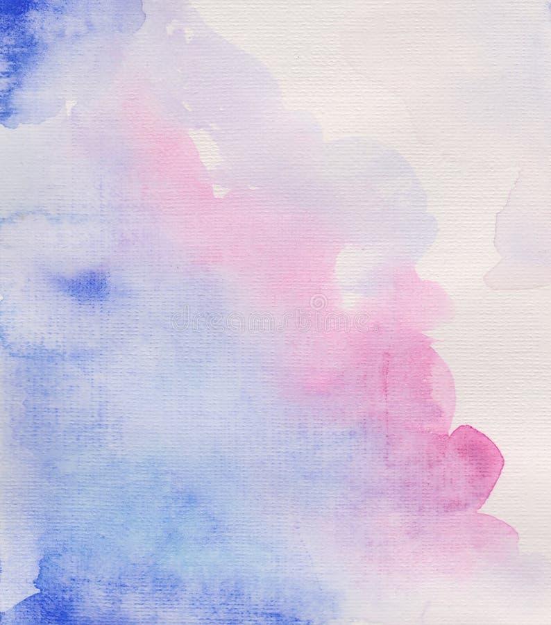 Tache d'aquarelle, jet, tache bleue, fond d'aquarelle, texture de toile, rose illustration libre de droits