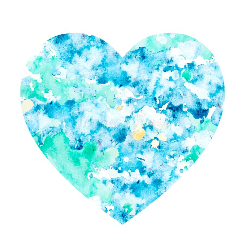 Tache d'aquarelle sous forme de coeur illustration stock