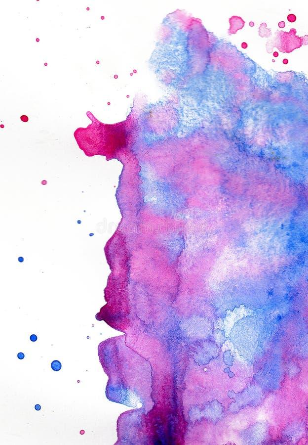 Tache d'aquarelle sur un fond blanc Fond peint ? la main abstrait d'aquarelle illustration libre de droits
