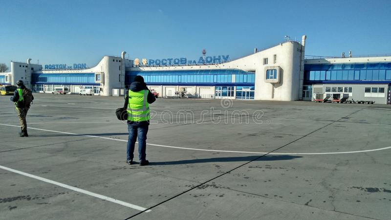 Tache dans l'aéroport de Rostov-On-Don photo stock