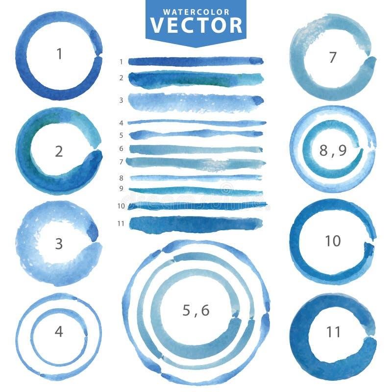 Tache de cercle d'aquarelle, ligne brosses Cyan, bleu Été illustration libre de droits
