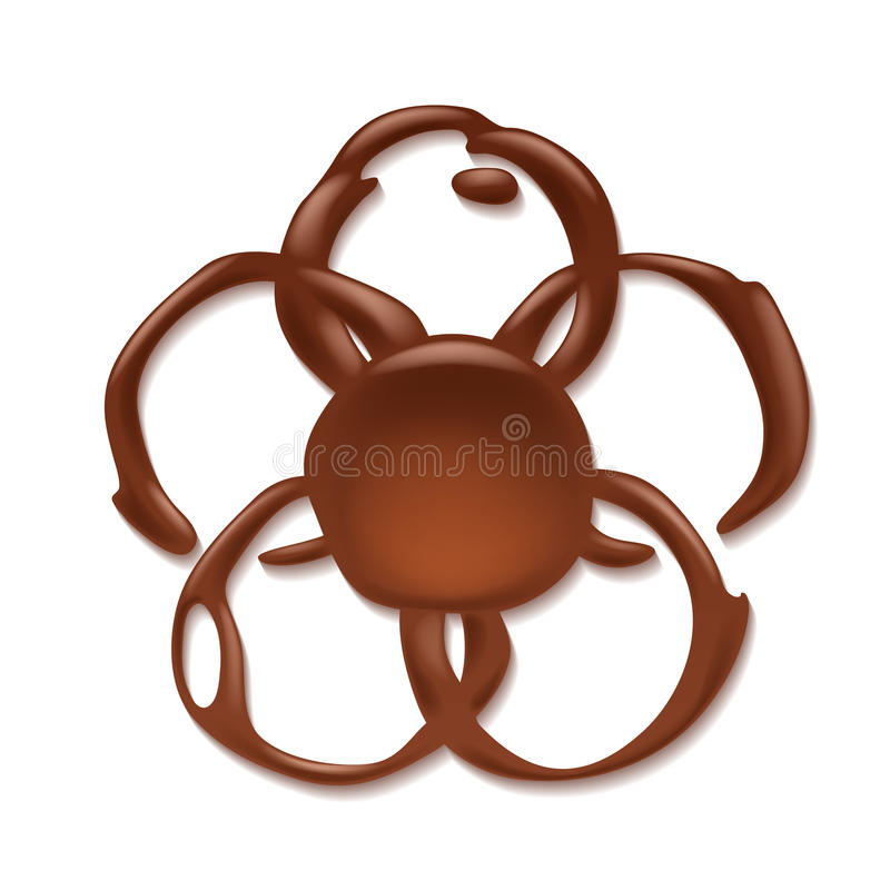 Tache de chocolat d'isolement Forme de fleur illustration de vecteur