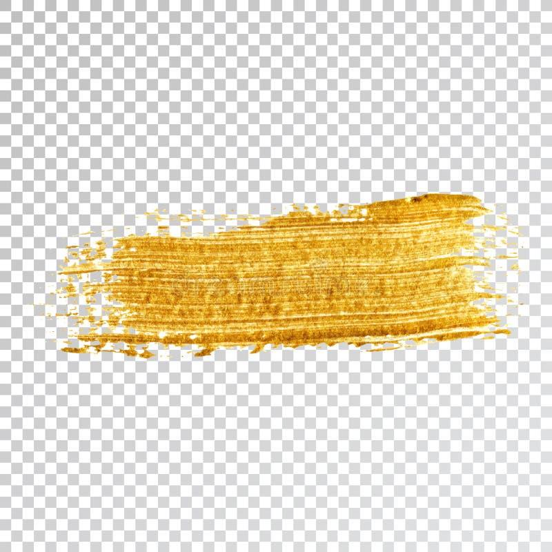 Tache de course de calomnie de peinture d'or, course de brosse sur le fond blanc illustration de vecteur