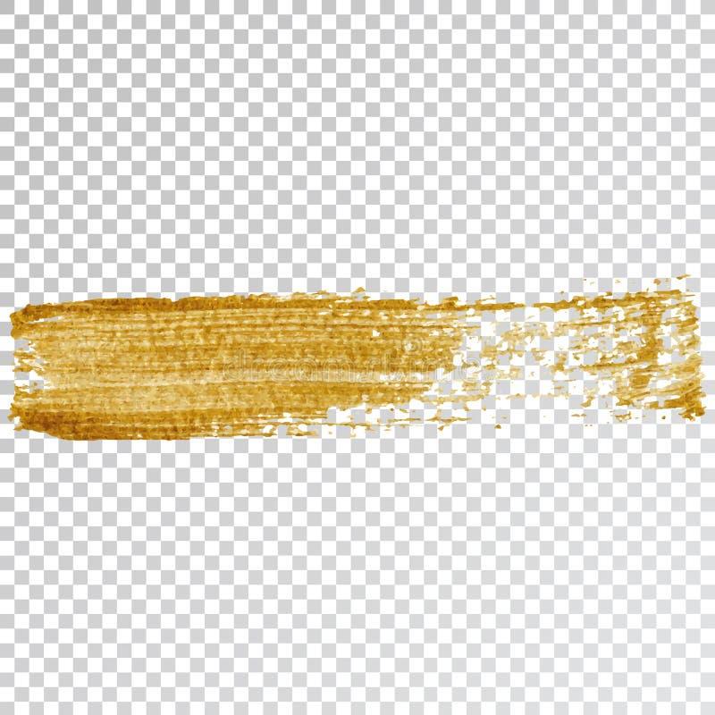 Tache de course de calomnie de peinture d'or, course de brosse sur le fond blanc Texture éclatante d'or abstrait illustration de vecteur