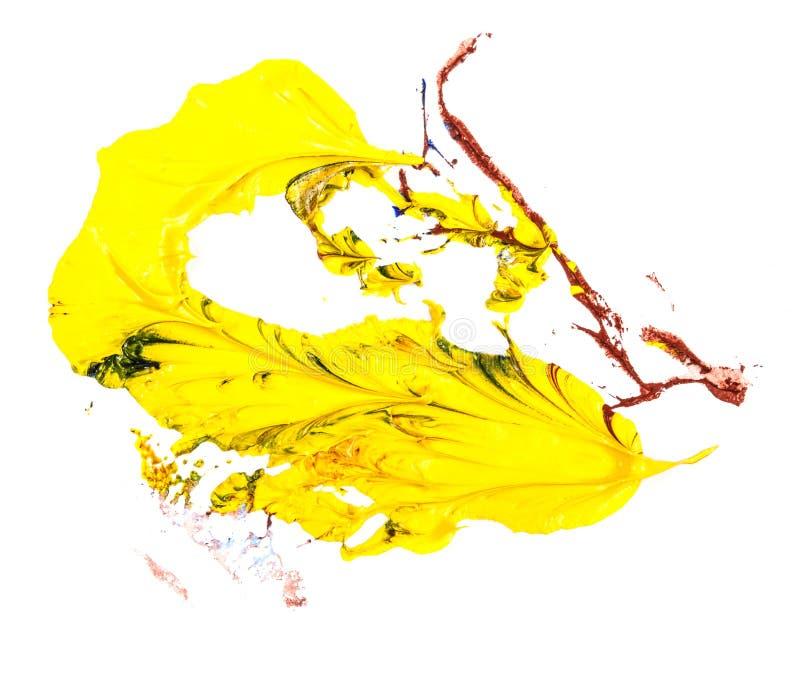 Tache de peinture à l'huile bleue, jaune et rouge calomnie sur le blanc photo stock