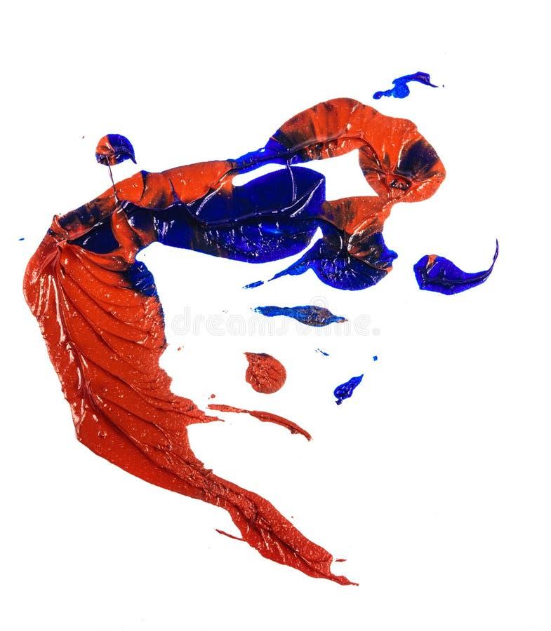 Tache de peinture ? l'huile bleue et rouge calomnie sur le blanc photos stock