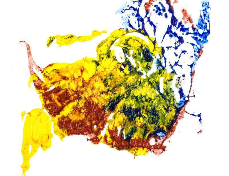 Tache de peinture ? l'huile bleue, jaune et rouge calomnie sur le blanc photo libre de droits