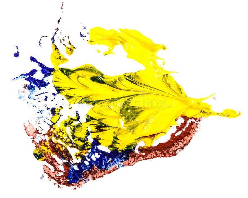 Tache de peinture ? l'huile bleue, jaune et rouge calomnie sur le blanc photos stock