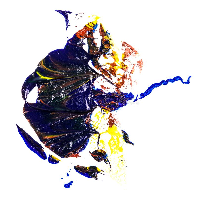 Tache de peinture ? l'huile bleue, jaune et rouge calomnie sur le blanc photographie stock libre de droits