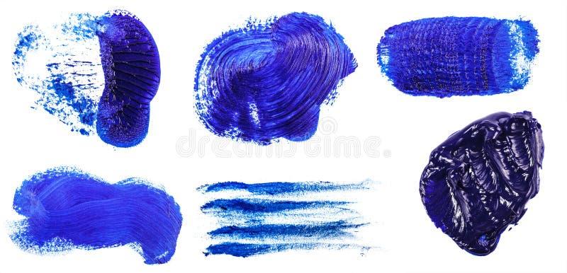 Tache de peinture ? l'huile bleue sur le blanc positionnement photographie stock libre de droits