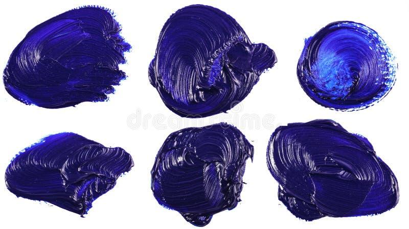 Tache de peinture ? l'huile bleue sur le blanc positionnement images libres de droits
