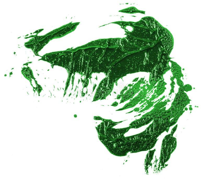 Tache de peinture verte d'huile sur le blanc photos libres de droits