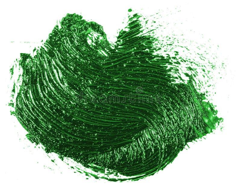 Tache de peinture verte d'huile sur le blanc images libres de droits