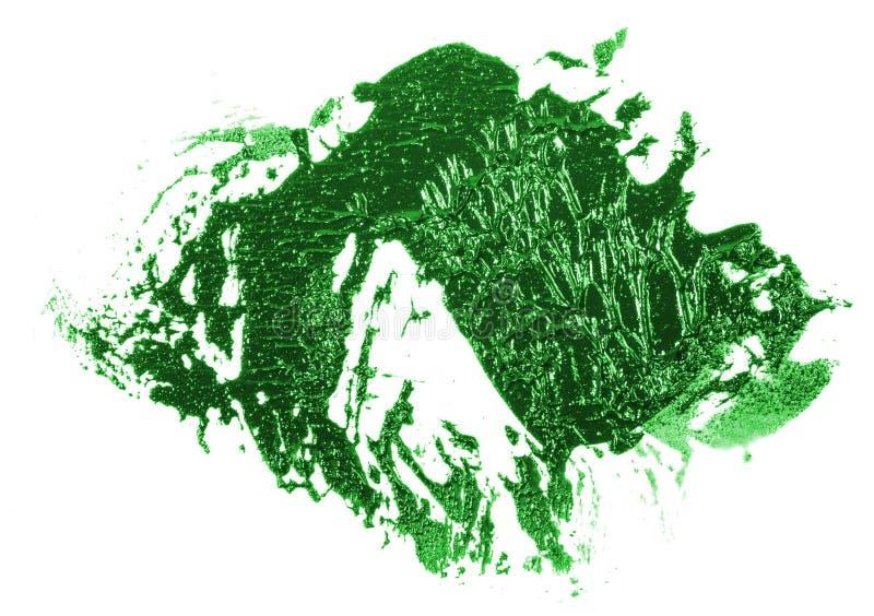 Tache de peinture verte d'huile sur le blanc image libre de droits