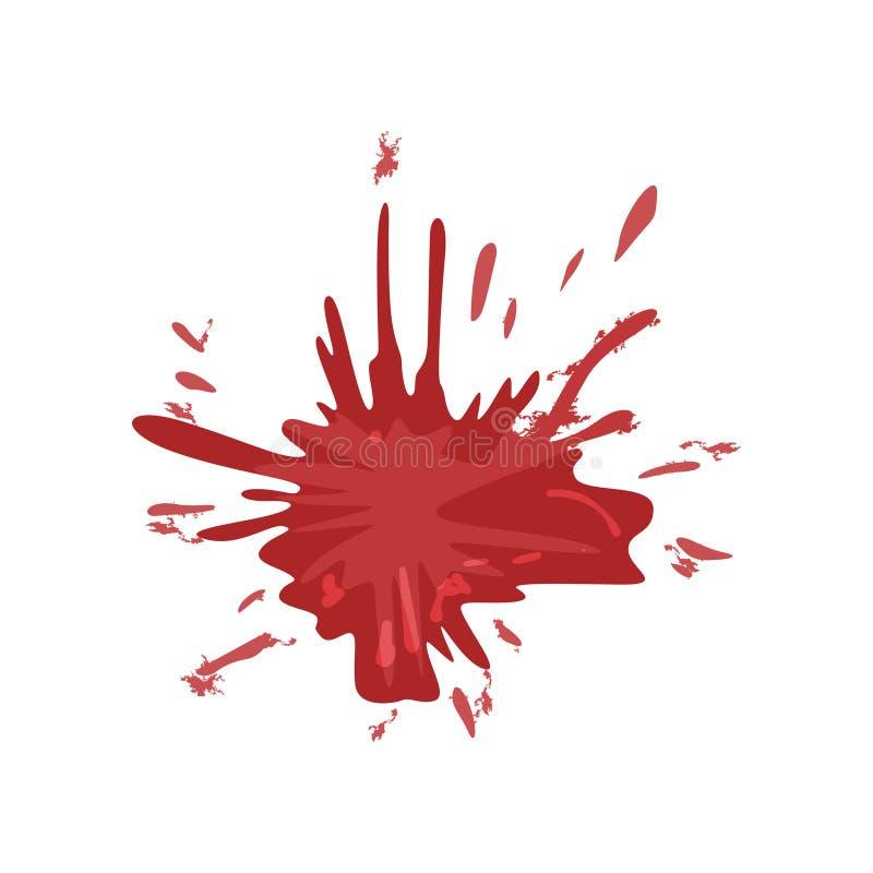 Tache de sang, éclaboussure d'illustration rouge de vecteur d'encre sur un fond blanc illustration libre de droits