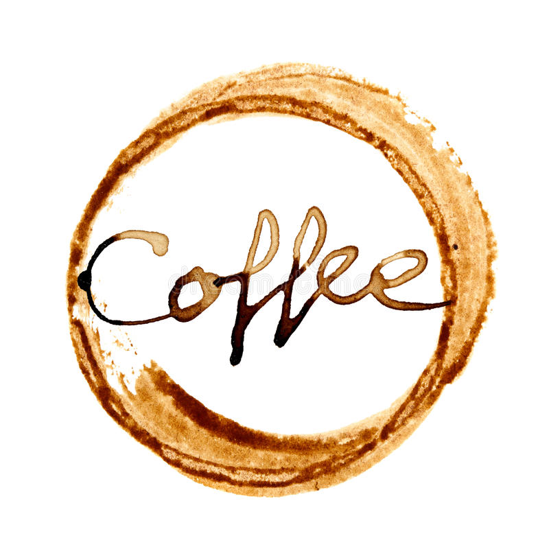 Tache de tasse de café avec le lettrage illustration libre de droits