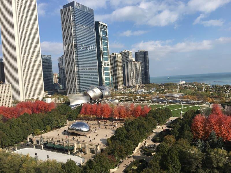 Tache de touristes de parc de millénaire dans des bâtiments de Chicago images stock