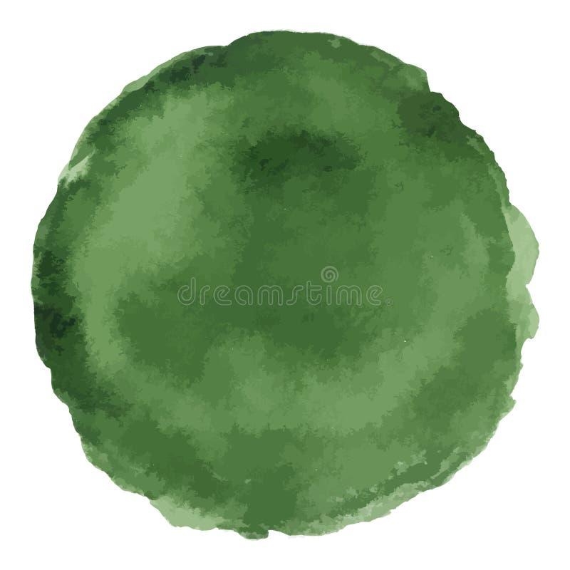 Tache de vecteur peinte par aquarelle vert-foncé lumineuse illustration libre de droits