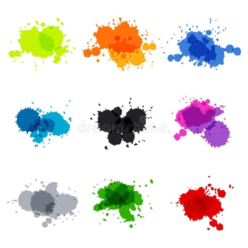 Tache de vecteur réglée par cercles peints à la main d'aquarelle illustration stock