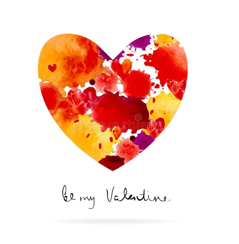 Tache et coeur colorés d'aquarelle illustration libre de droits
