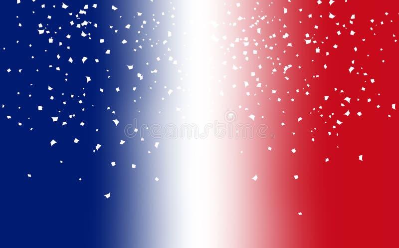 Tache floue de drapeau de la France avec la dispersion de papier ab de recouvrement de partie de célébration illustration libre de droits
