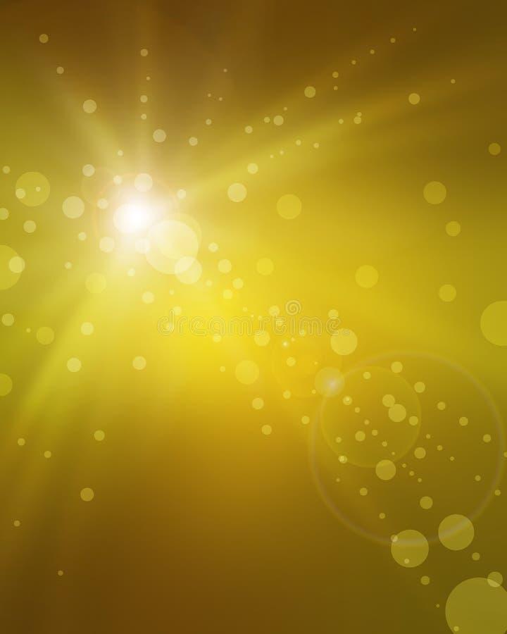 Tache floue de fantaisie de fond d'or avec les filets jaunes de rayon du soleil de la lumière et des cercles brouillés de bokeh illustration libre de droits