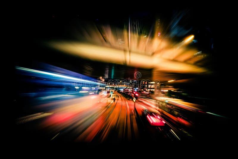 Tache floue de mouvement moderne de ville Hon Kong Le trafic abstrait b de paysage urbain photo libre de droits