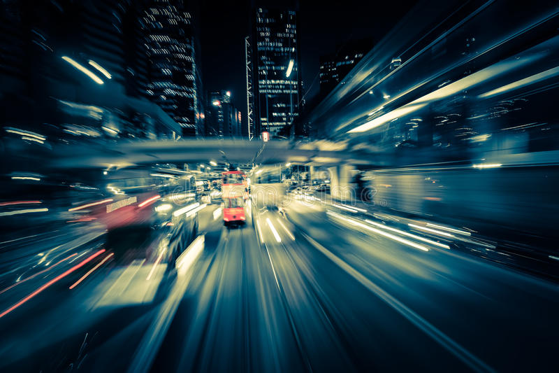 Tache floue de mouvement moderne de ville Hon Kong Le trafic abstrait de paysage urbain images libres de droits