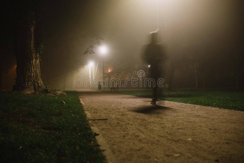 Tache floue de mouvement de personnes pendant parc, la nuit et brouillard lourd photos stock