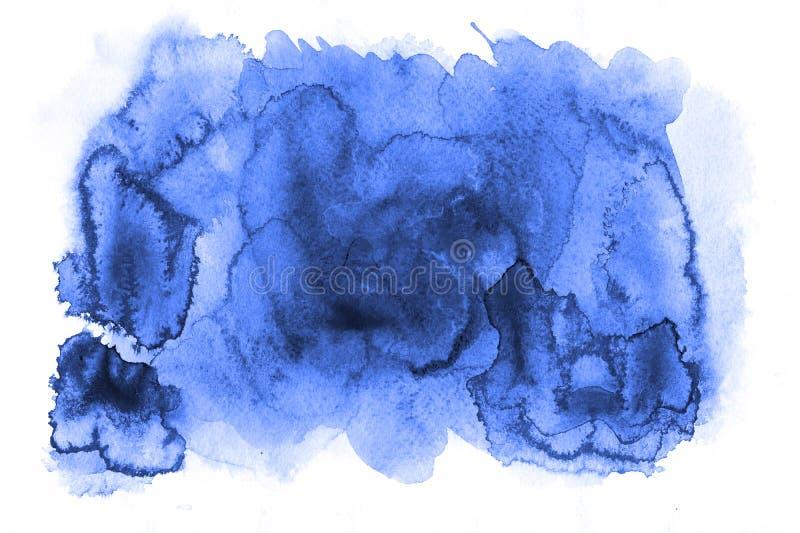 Tache informe bleue azurée d'abrégé sur aquarelle Taches peintes avec image stock