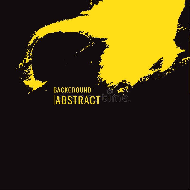 Tache jaune de pinceau sur le fond noir dans le style grunge Le VE illustration stock