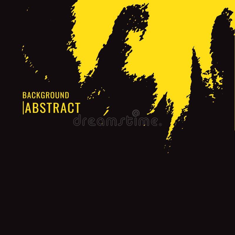 Tache jaune de pinceau sur le fond noir dans le style grunge Le VE illustration de vecteur