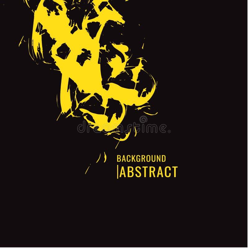 Tache jaune de pinceau sur le fond noir dans le style grunge Le VE illustration libre de droits