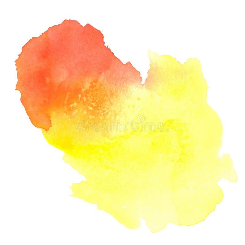 Tache jaune-rouge colorée d'aquarelle avec la tache de peinture d'aquarelle illustration stock