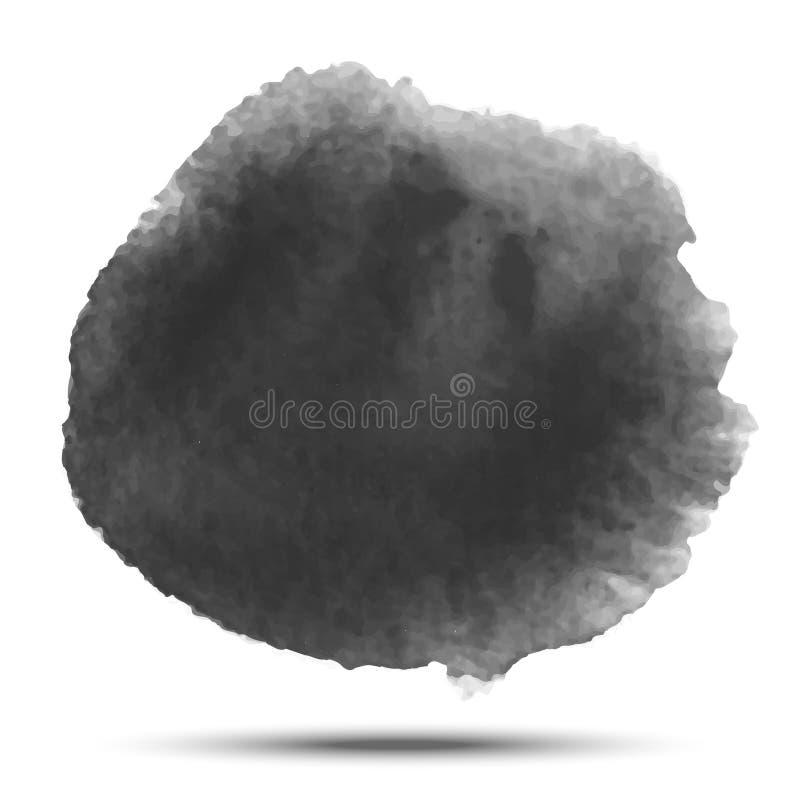 Tache noire gris-foncé de cercle de vecteur d'aquarelle sur le fond blanc avec la texture de papier réaliste d'aquarelle illustration de vecteur
