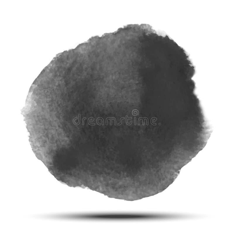 Tache noire gris-foncé de cercle de vecteur d'aquarelle sur le fond blanc avec la texture de papier réaliste d'aquarelle illustration stock