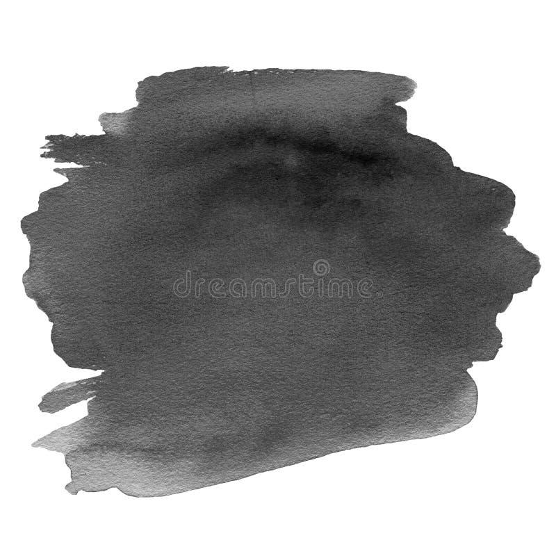 Tache peinte à la main abstraite d'encre d'aquarelle de gamme de gris illustration stock