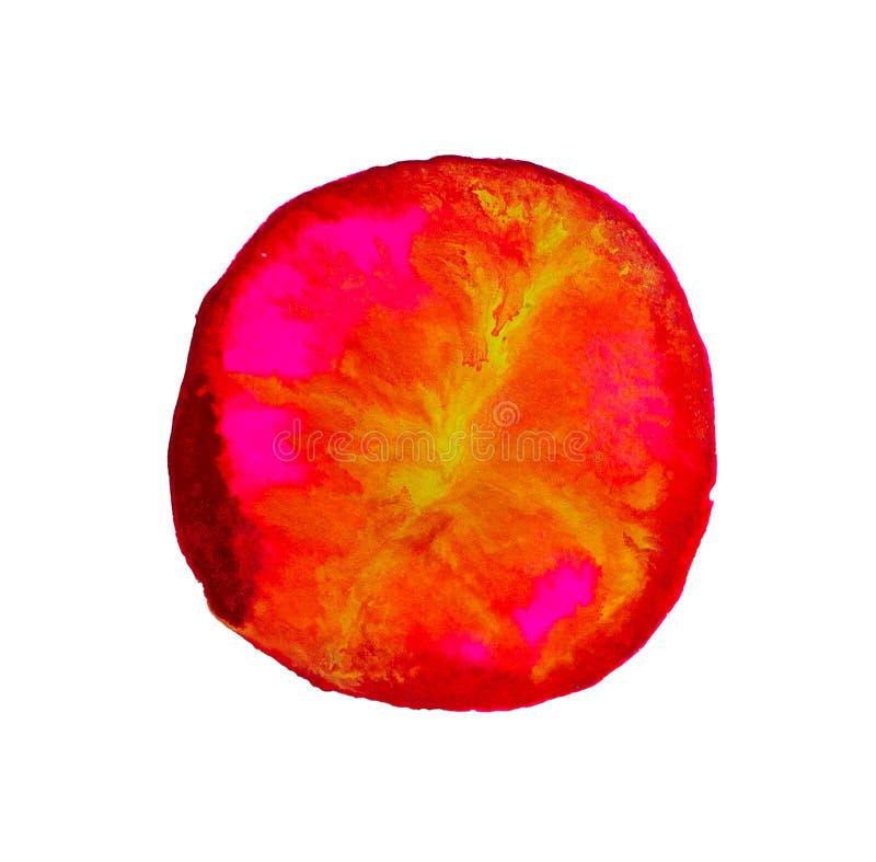 Tache ronde d'aquarelle rouge d'isolement Brosse grunge de colorant d'aquarelle réaliste de texture Marque rouge foncé, dessin po illustration stock