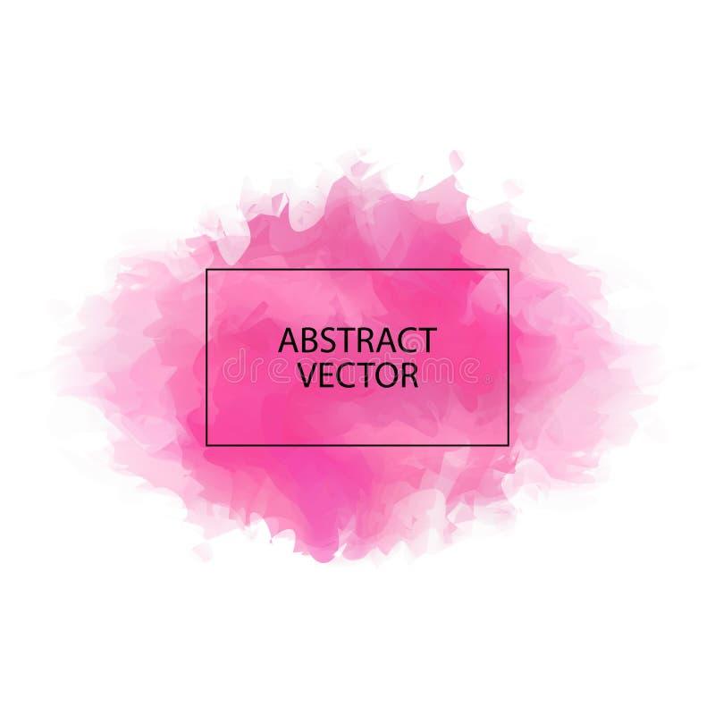Tache rose d'aquarelle sur le fond blanc Tache abstraite d'isolement illustration stock