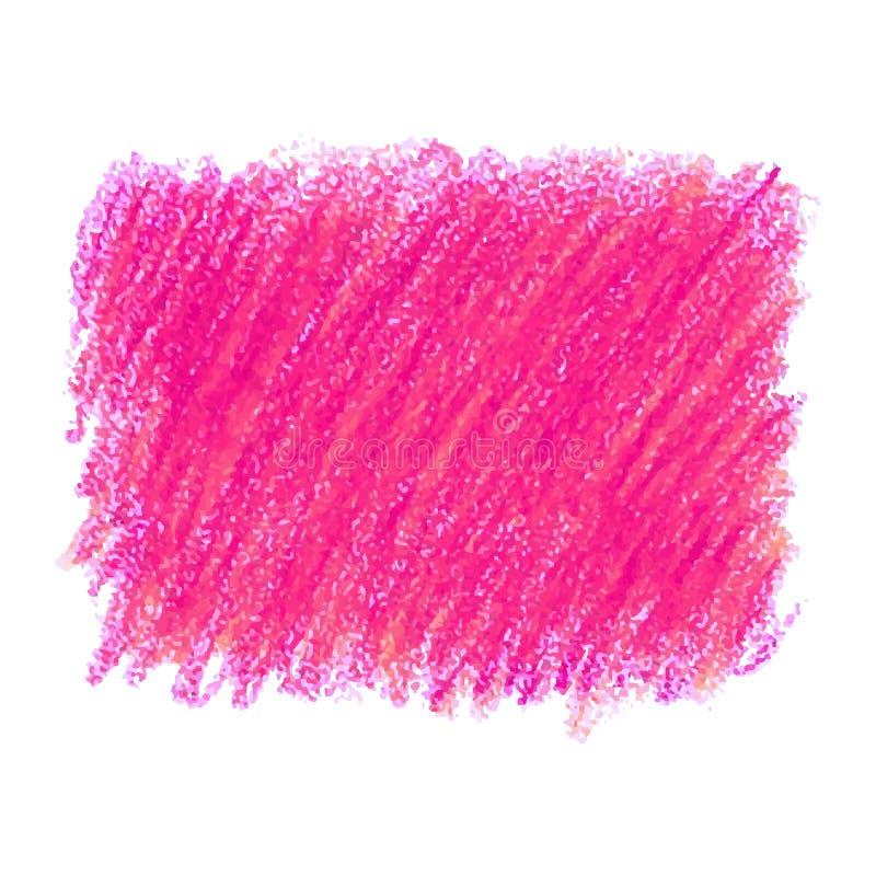 Tache rose de texture de griffonnage de crayon d'isolement sur le fond blanc illustration stock