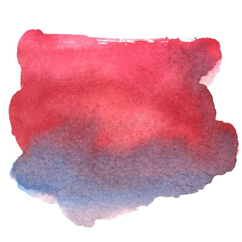 Tache rouge-bleue colorée d'aquarelle avec la tache de peinture d'aquarelle illustration stock