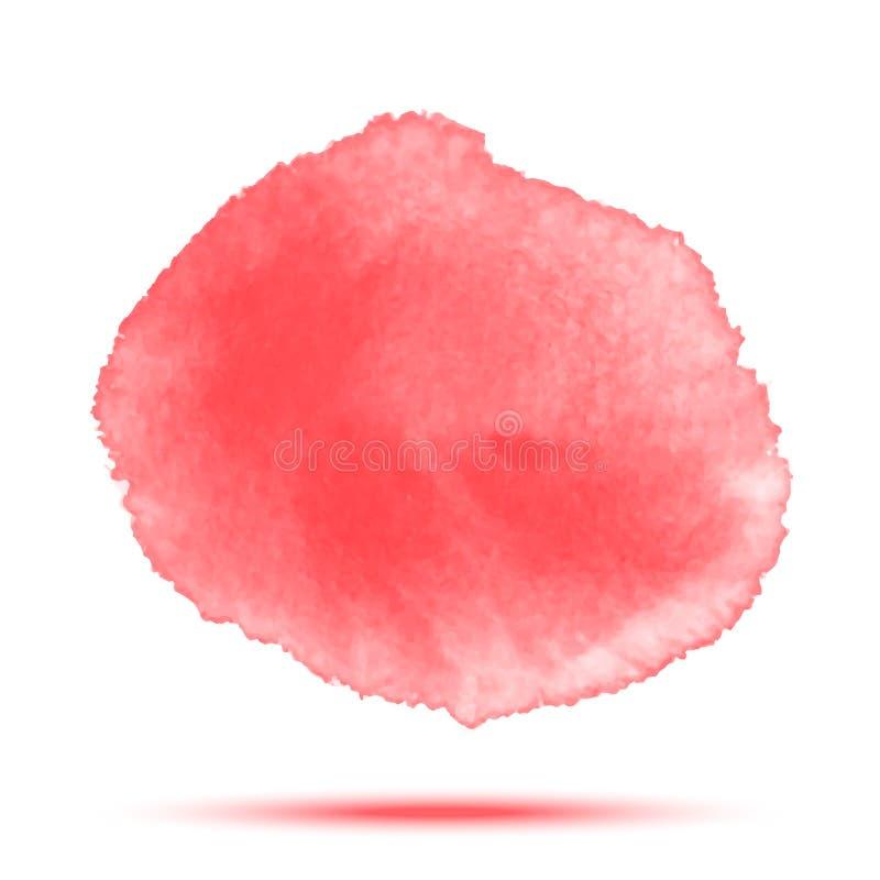 Tache rouge lumineuse de cercle de vecteur d'aquarelle sur le fond blanc avec la texture de papier réaliste d'aquarelle illustration de vecteur