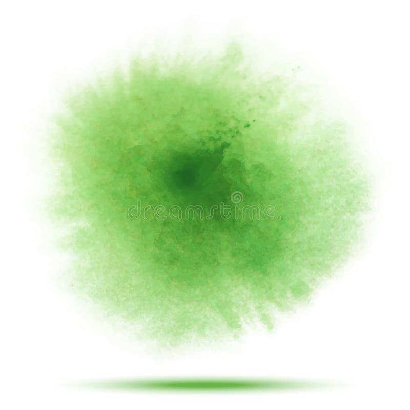 Tache transparente de vecteur d'aquarelle de ressort vert clair d'isolement sur le fond blanc illustration de vecteur