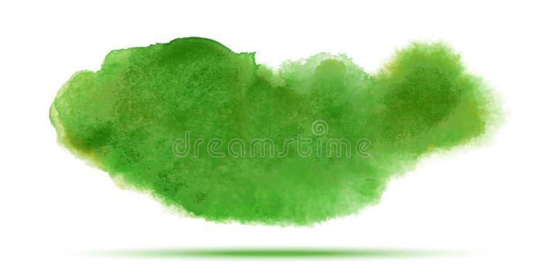 Tache vert clair de calomnie de vecteur d'aquarelle de ressort d'isolement sur le fond blanc avec la texture de papier réaliste d illustration stock