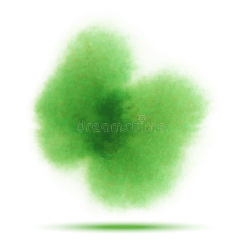 Tache vert clair de calomnie de vecteur d'aquarelle de ressort sur le fond blanc avec la texture de papier réaliste d'aquarelle illustration libre de droits