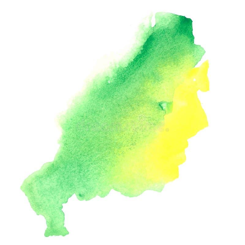 Tache vert-jaune colorée d'aquarelle illustration libre de droits