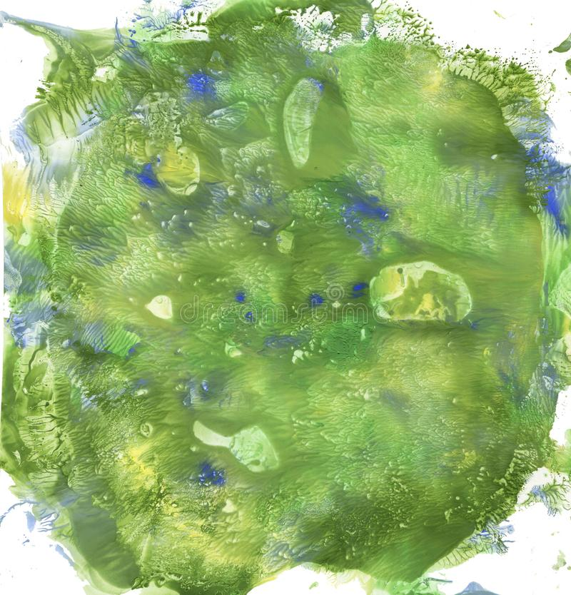 Tache verte d'aquarelle Illustration tirée par la main Fond de peinture Éclaboussure abstraite de texture image stock
