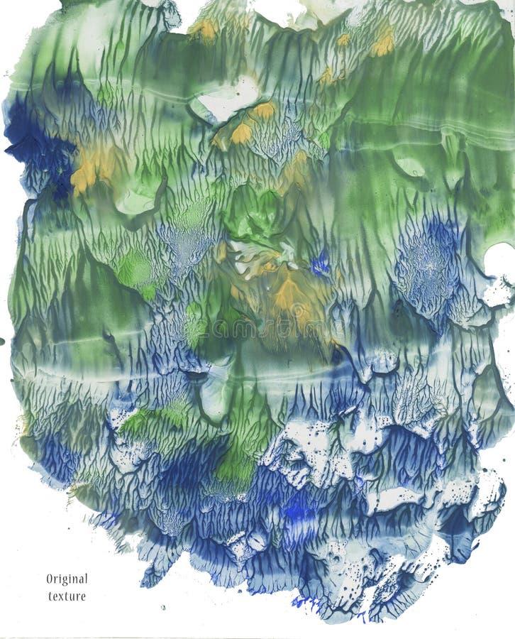 Tache verte d'aquarelle Illustration tirée par la main Fond de peinture Éclaboussure abstraite de texture photos stock